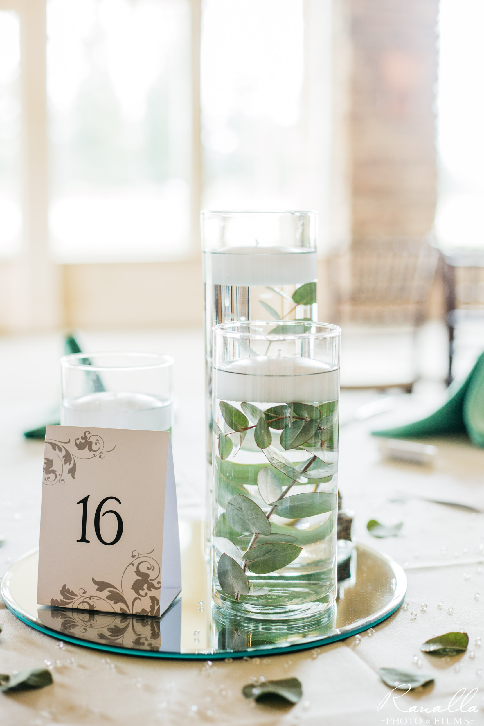 Chico Wedding Photography- Water Votive Candle- Eucalyptus- Butte Creek Country Club- Ranalla Photo & Films