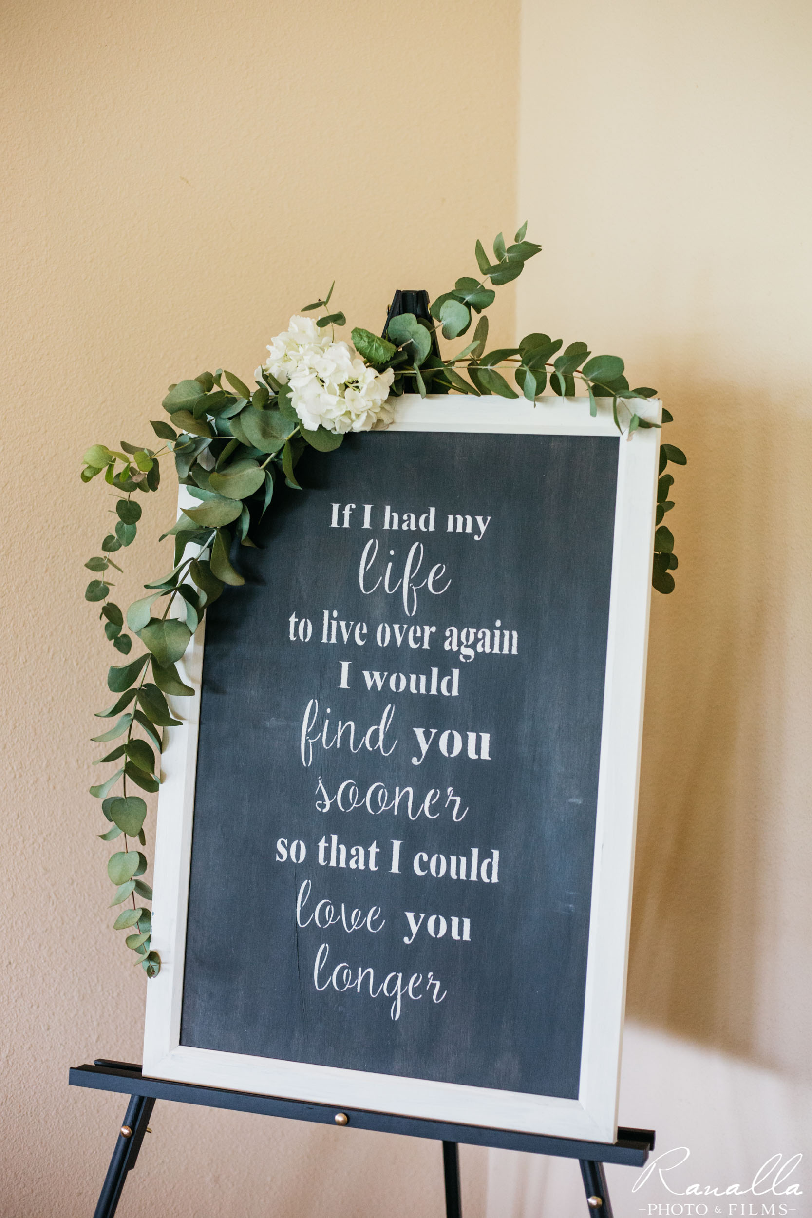 Chico Wedding Photography- Chalkboard Sign- Butte Creek Country Club- Ranalla Photo & Films