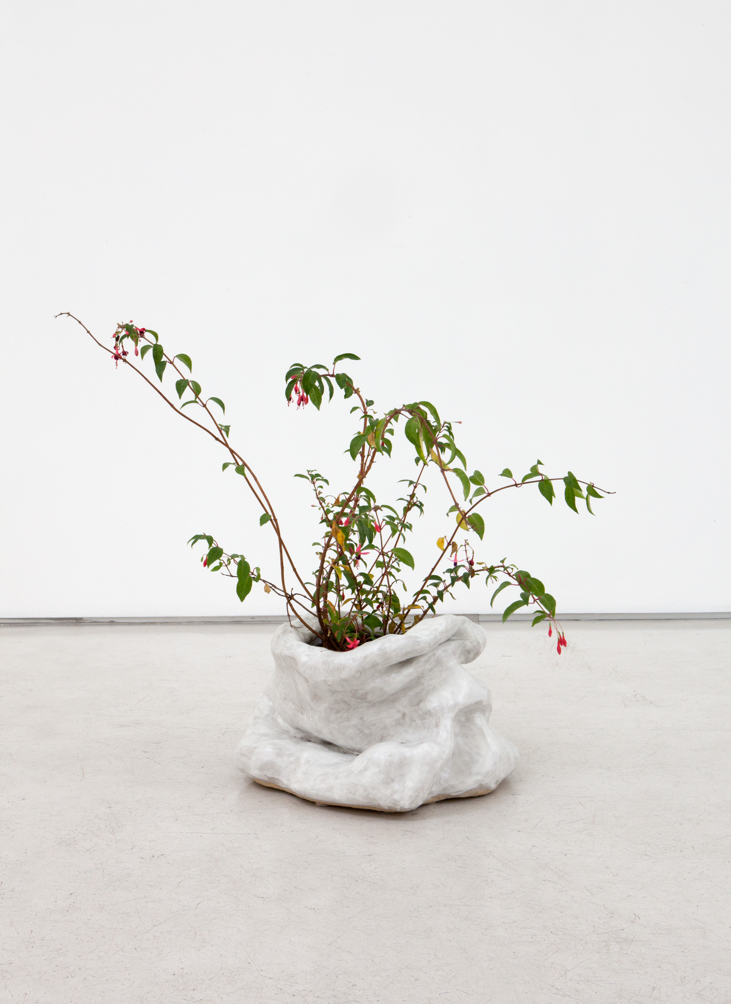 "Sasha Bergstrom-Katz,  Planter #1 with fuchsia from ""Conversations: Eat shit,"" 2014   Glazed ceramic,  11 x 17 x 16 inches"