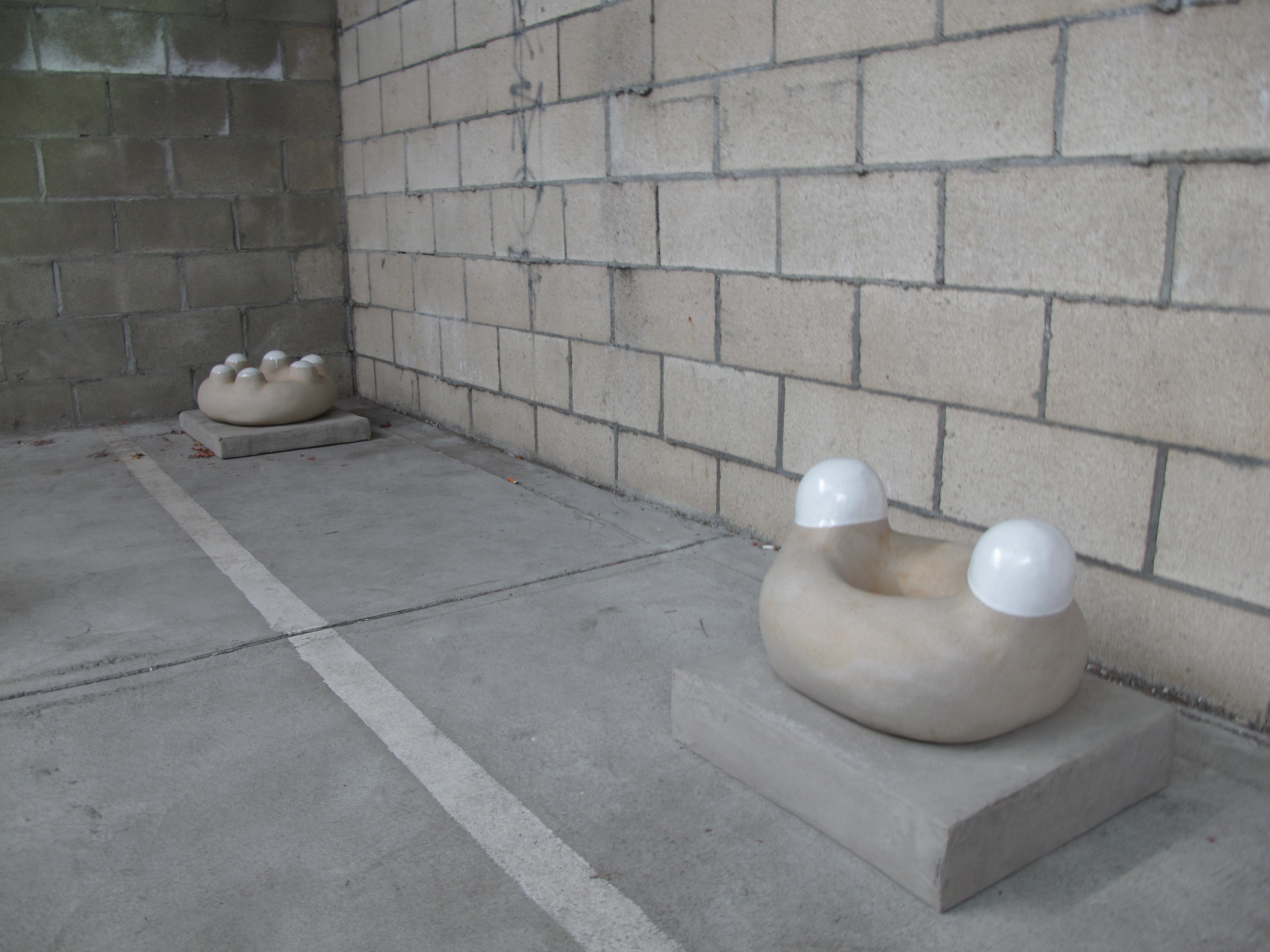 Two Ones & Three Twos, 2015; Ceramic, concrete, wood