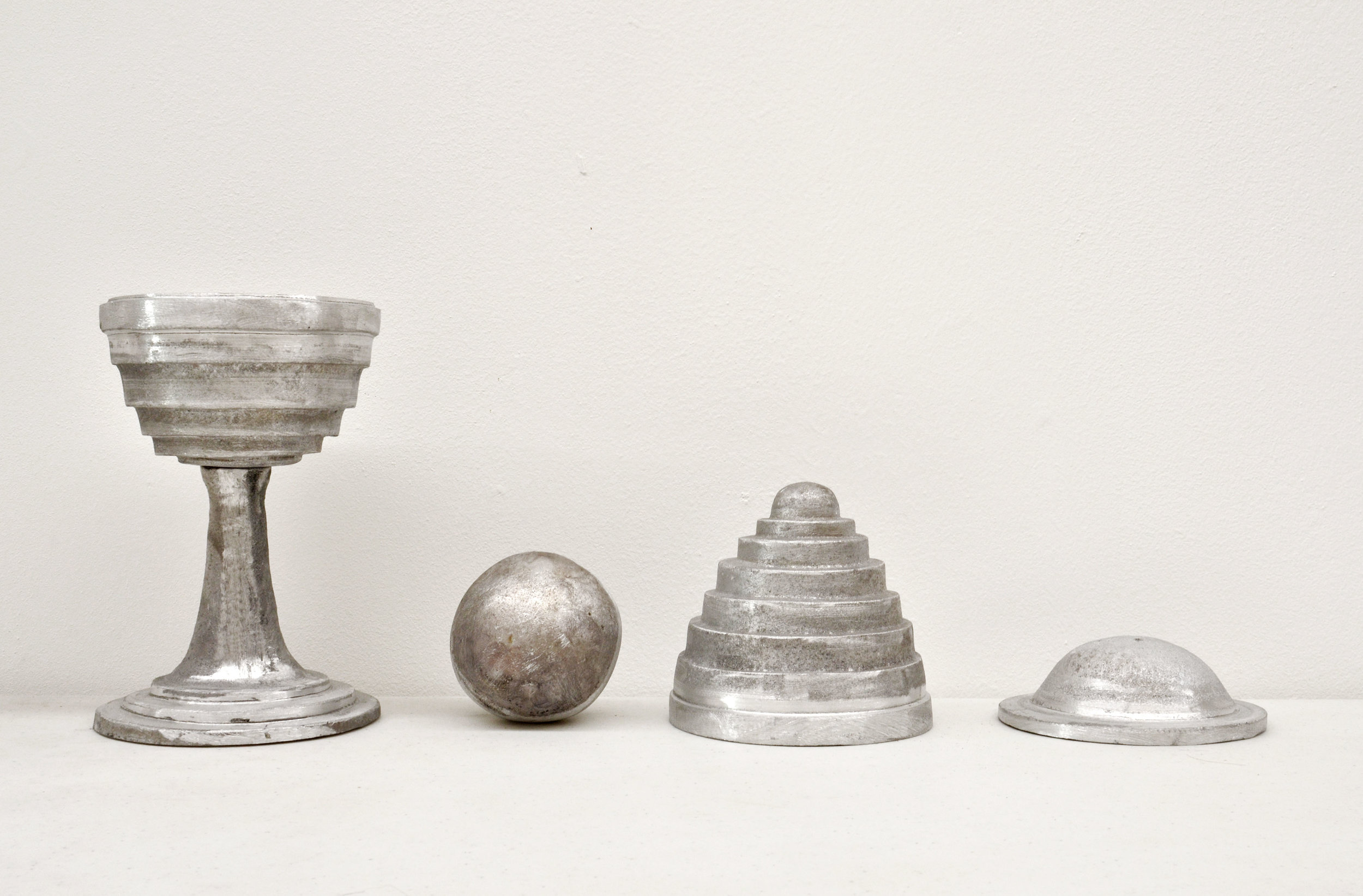 On Not Seeing: The Magic Ball & Vase , 2018; Cast Aluminum; 16 x 10 x 28 inches overall