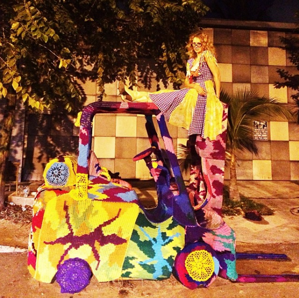 "The activist/artist Olek ""bombed"" an old forklift to make her statement at IRONSIDE during ArtBasel 2014.   http://oleknyc.com/about"