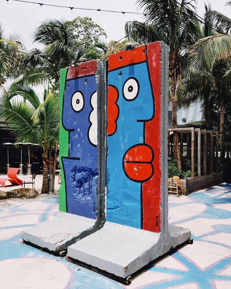IRONSIDE proudly houses four double-sided segments of the original Berlin Wall repainted by     Thierry Noir     during ArtBasel 2013.