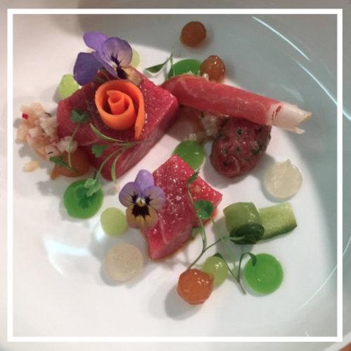 Irish Blue fin Tuna Belly, Parma Ham, Cucumber, Daikon, Ginger