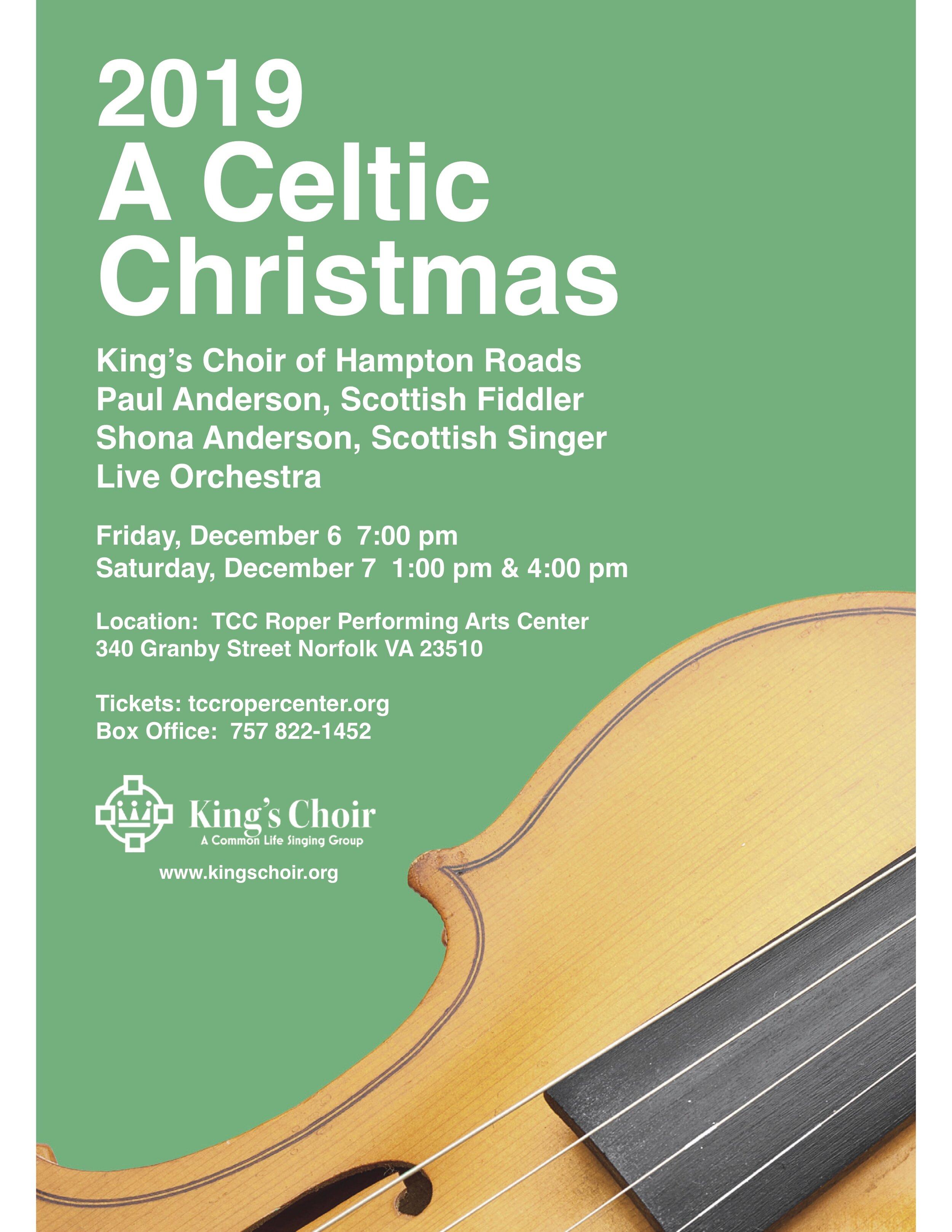 Saturday, December 7 @ 4:00 pm  TCC Roper Performing Arts Center  340 Granby Street Norfolk 23510  tcropercenter.org/757.822.1452 Box Office