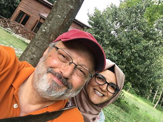 Jamal Khashoggi in a selfie with fiancee Hatice Cengiz at his home in suburban Virginia, outside Washington, D.C.
