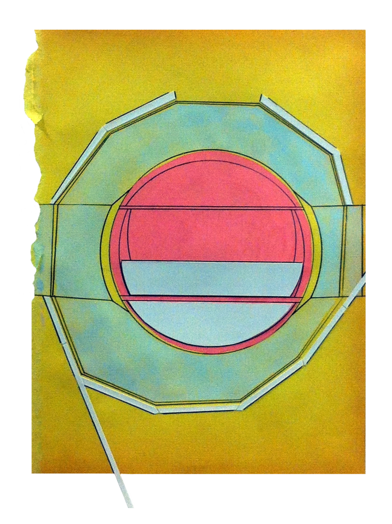 Local  , 2015  pencil, gouache, collage on found paper  10.75 x 7.5 inches