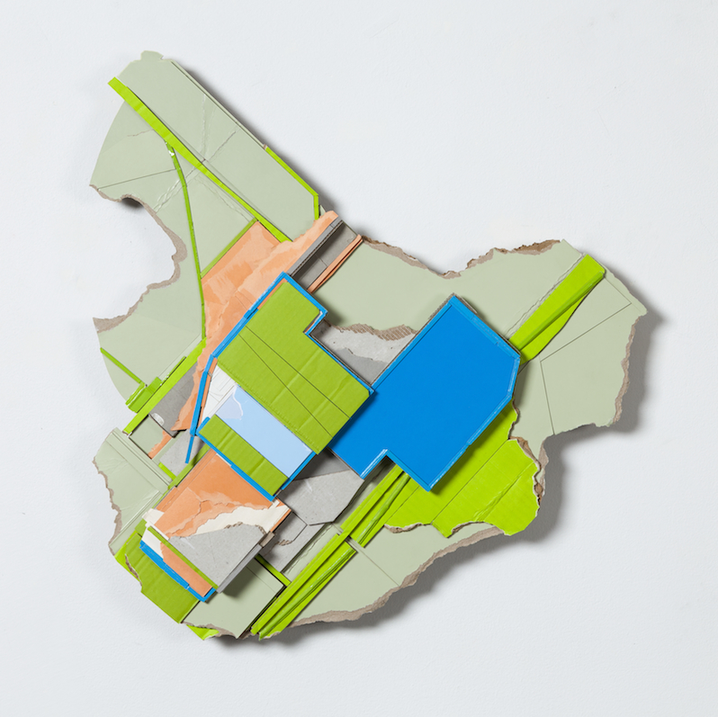 Co-location ,  2015  found (unpainted) cardboard, foamcore  24 x 23 x 3.5 inches