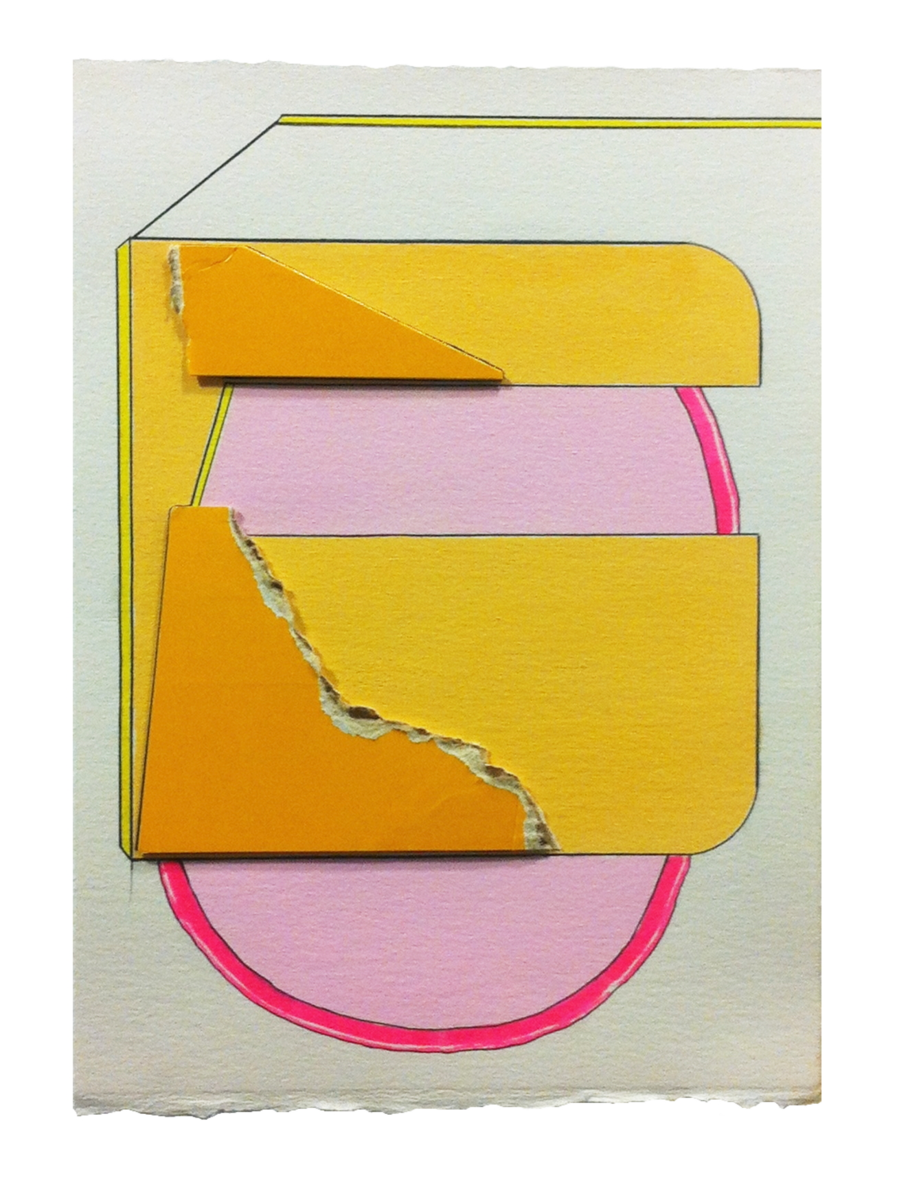 Plain  , 2015  gouache, pencil, marker, collage on paper  10.25 x 7.25 inches