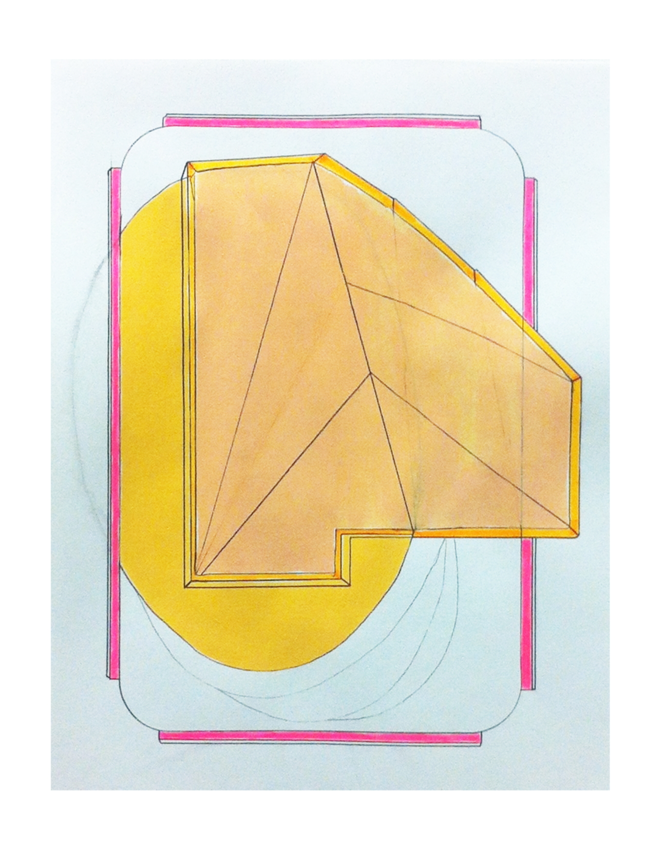 Tract 2  , 2015  gouache, pencil, marker on paper  11 x 8.5 inches
