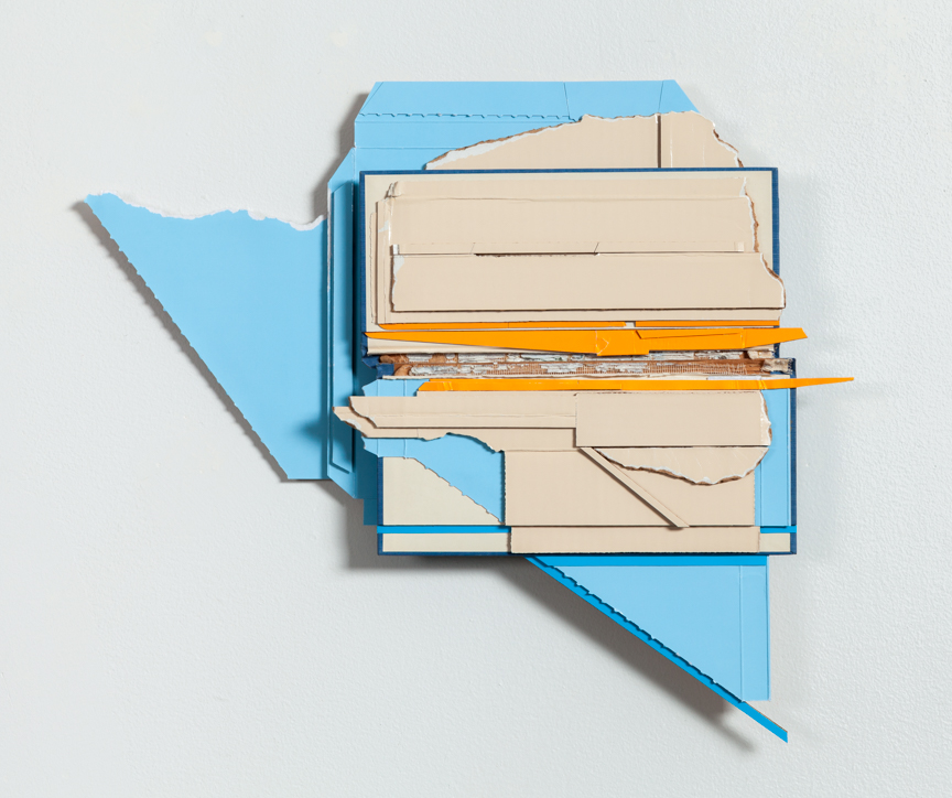 Minor Break , 2015  found (unpainted) cardboard, cut book cover, foamcore  16.5 x 19.5 x 1.75 inches