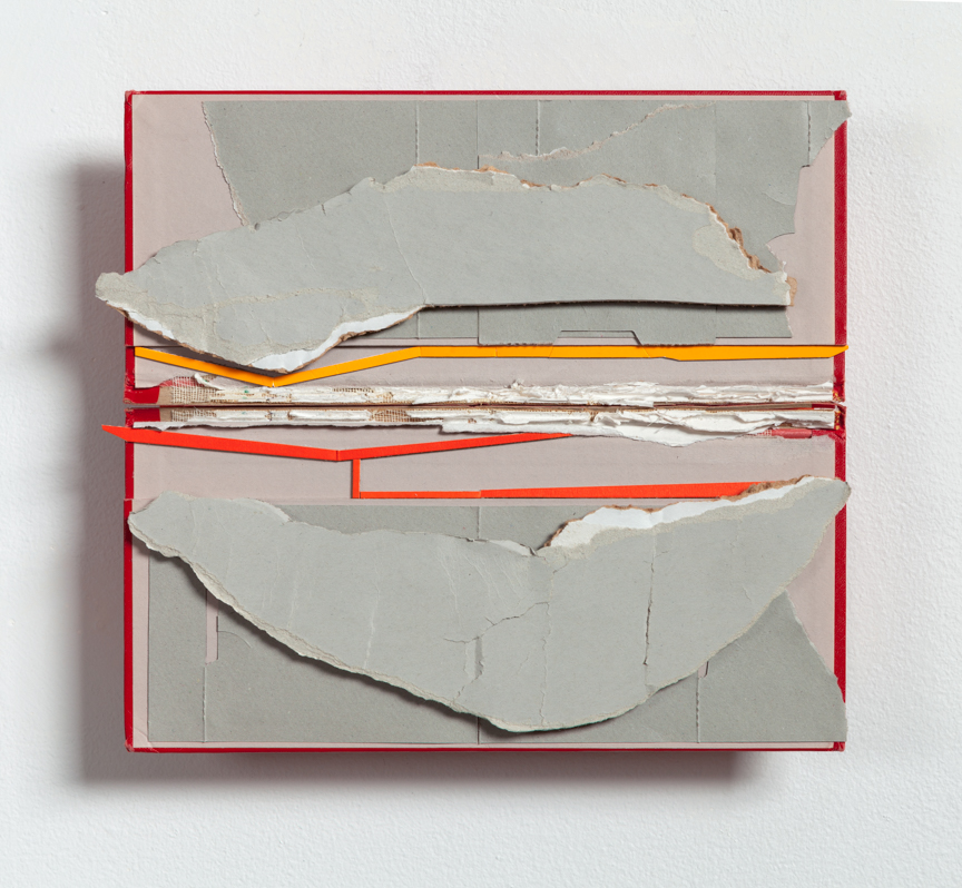 Carrier  , 2015  found (unpainted) cardboard, cut book cover, foamcore  10.25 x 11.75 x 2.5 inches  Private Collection