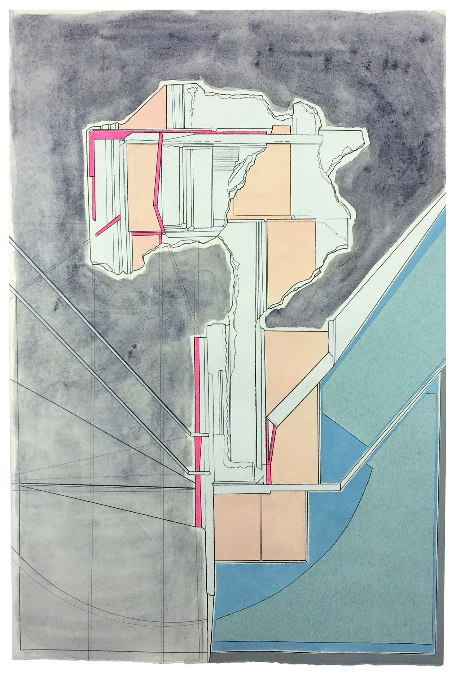 Receiver  , 2015  watercolor, gouache, acrylic, marker, pencil, collage on paper  22 x 14.75 inches