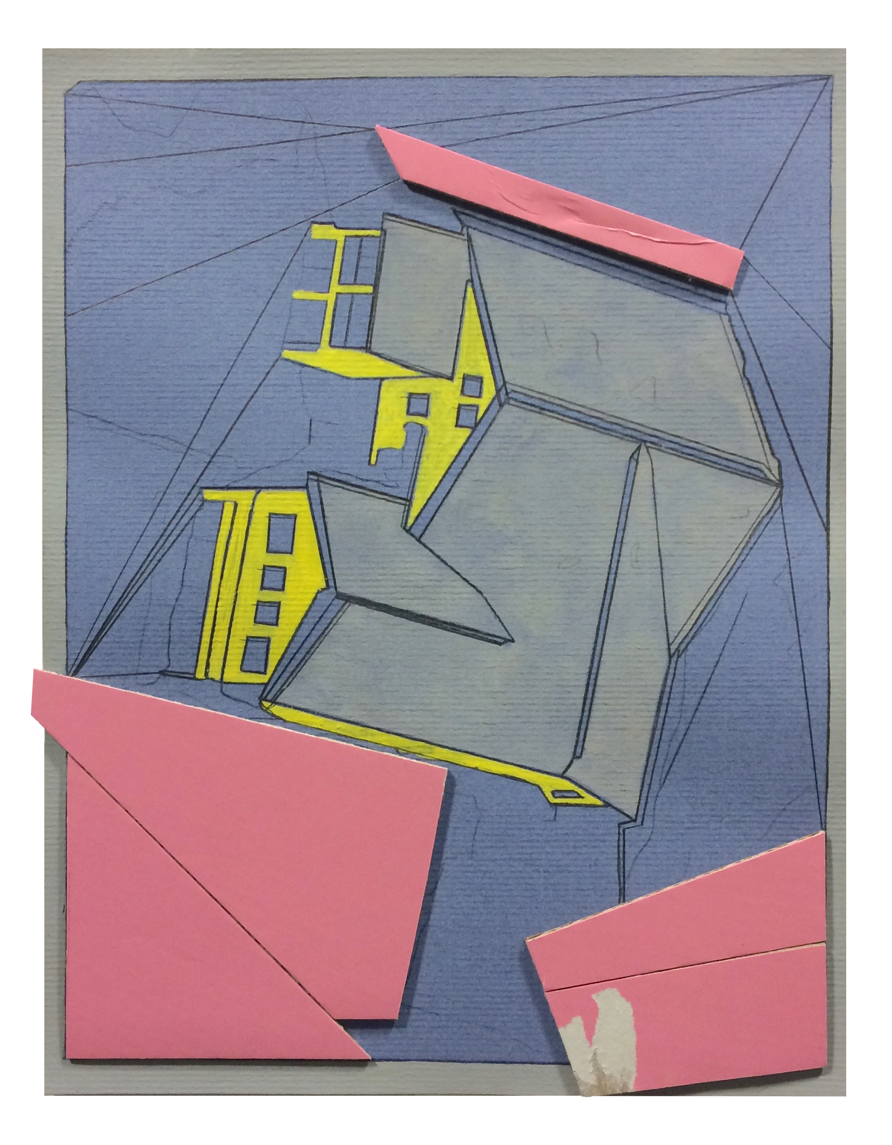 Recede  , 2015  collage, acrylic, pencil, gouache on paper  11 x 8.5 inches