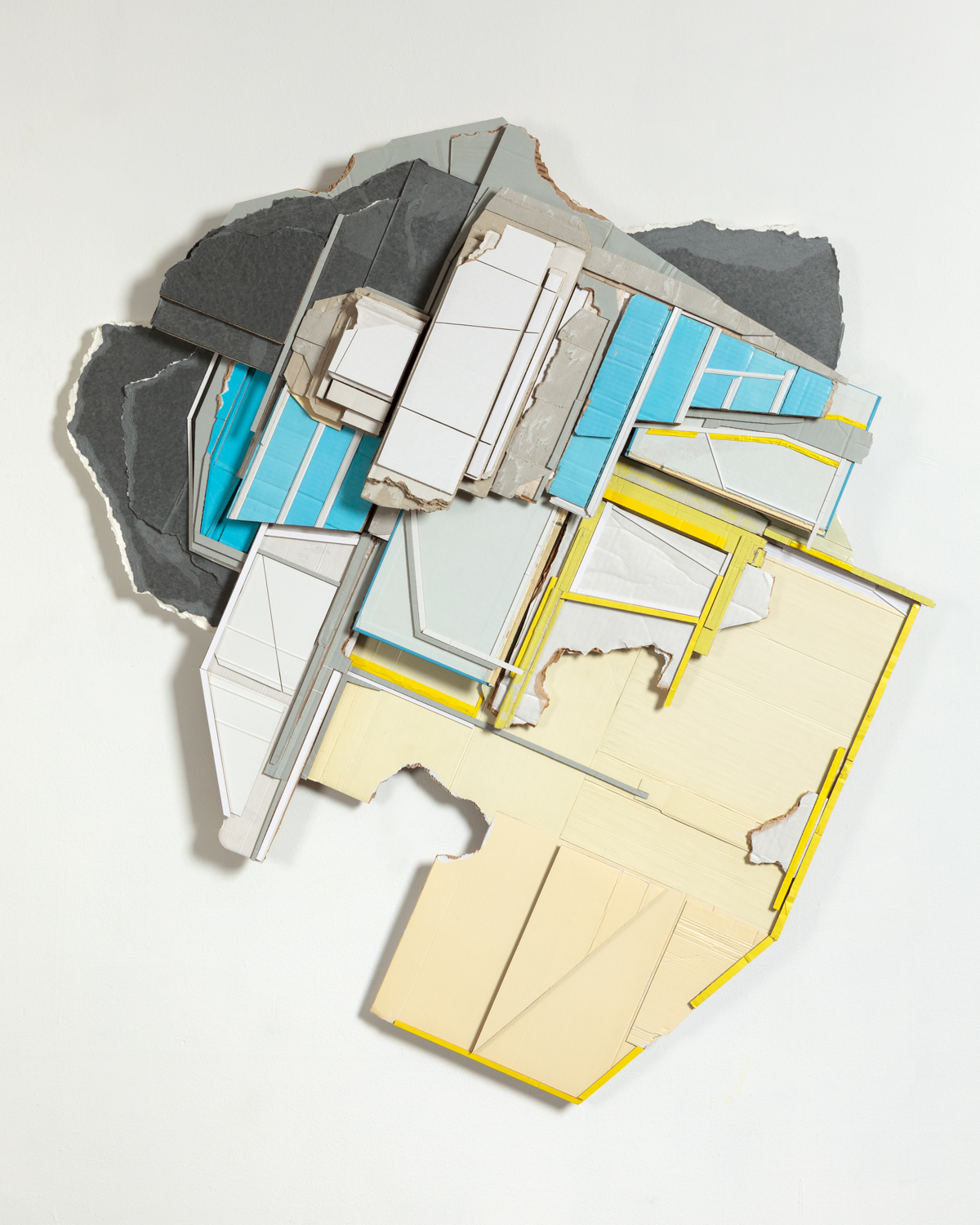 Inter-mission  , 2015  found (unpainted) cardboard, cut book cover, foamcore  47.5 x 43 x 4 inches  Private Collection