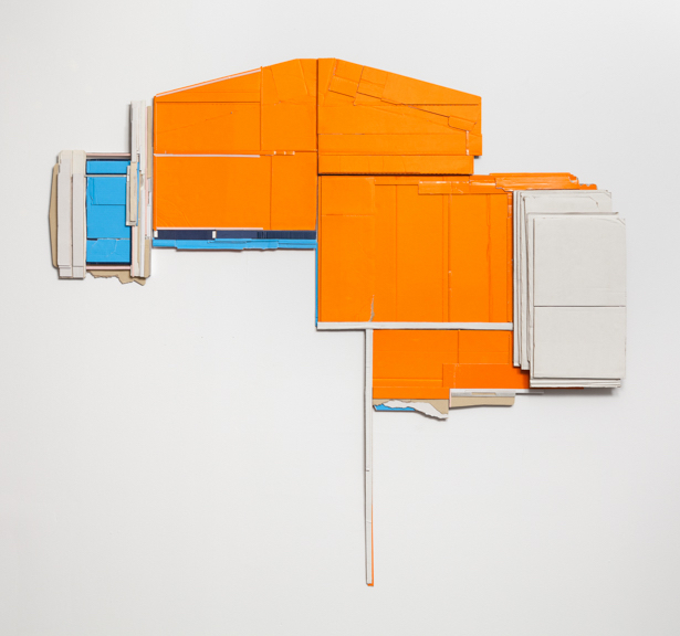 Momentary Hold  , 2013  found, unpainted cardboard &foamcore  64L x 69W x 3D inches