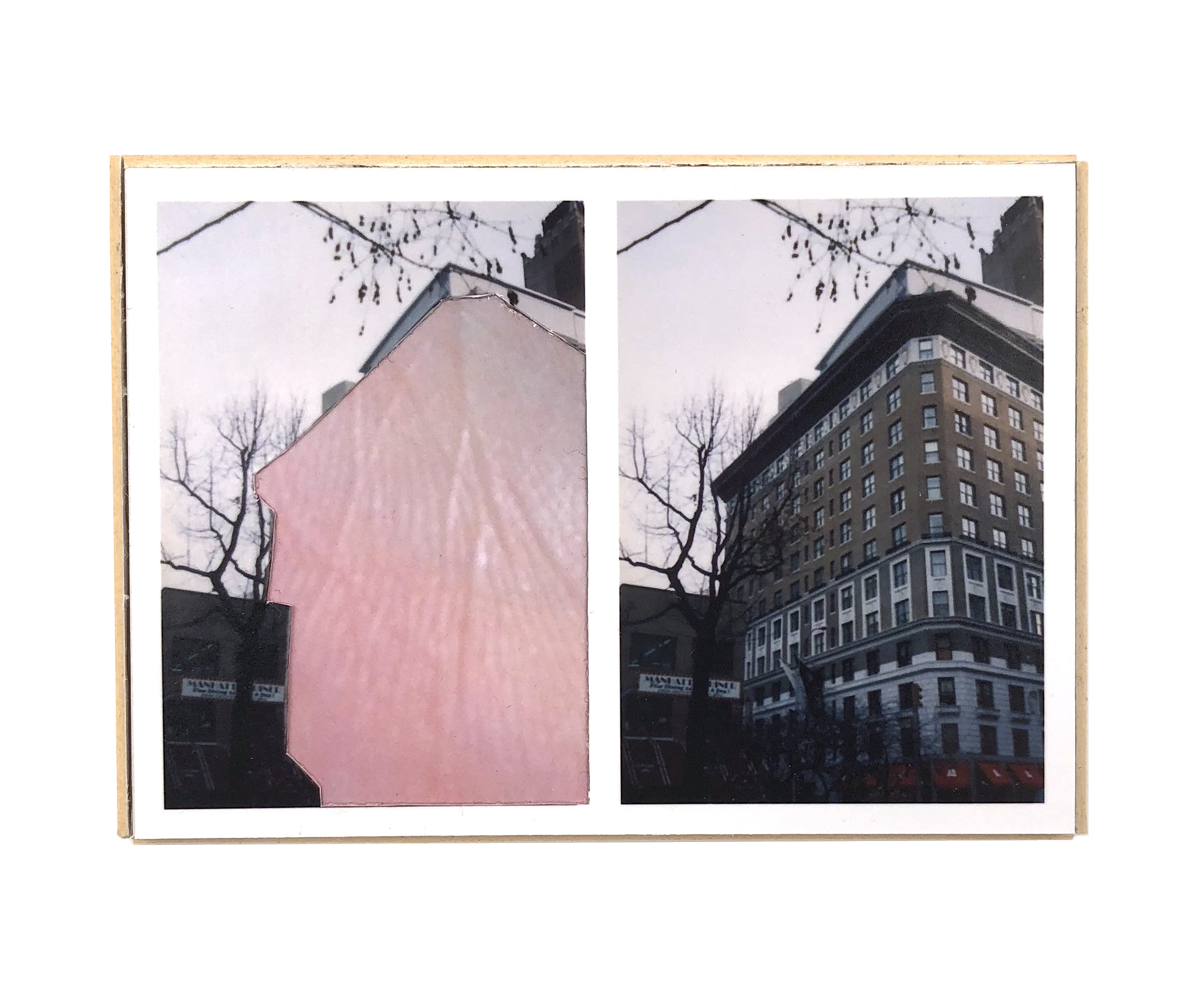 Split, Upper West   ,  2015  hand-cut photo-collage (mounted on matte board, foamcore)  2 ¾ L x 3 ¾ W x ¾ D inches