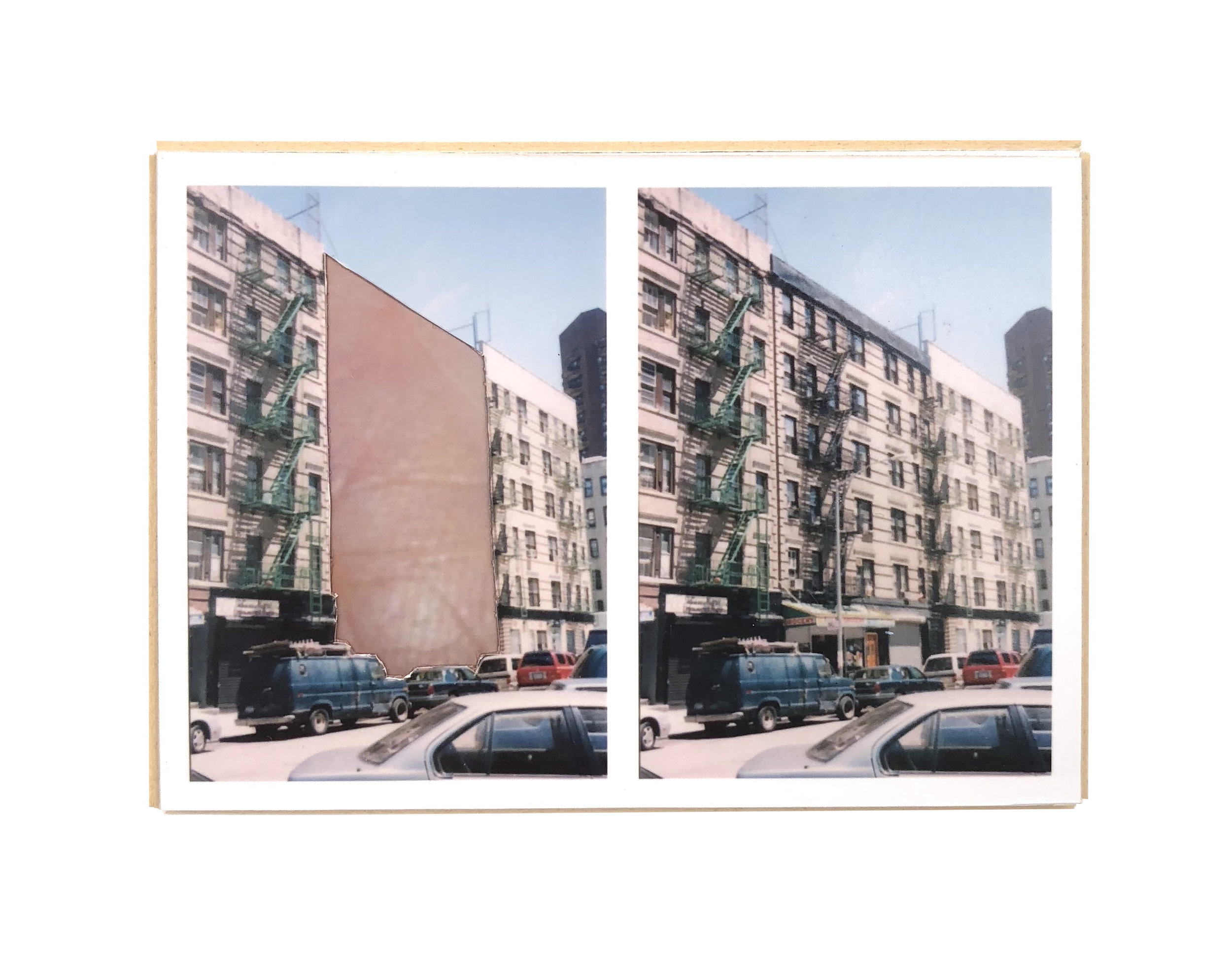 Split, East Harlem   ,  2015  hand-cut photo-collage (mounted on matte board, foamcore)  2 ¾ L x 3 ¾ W x ¾ D inches