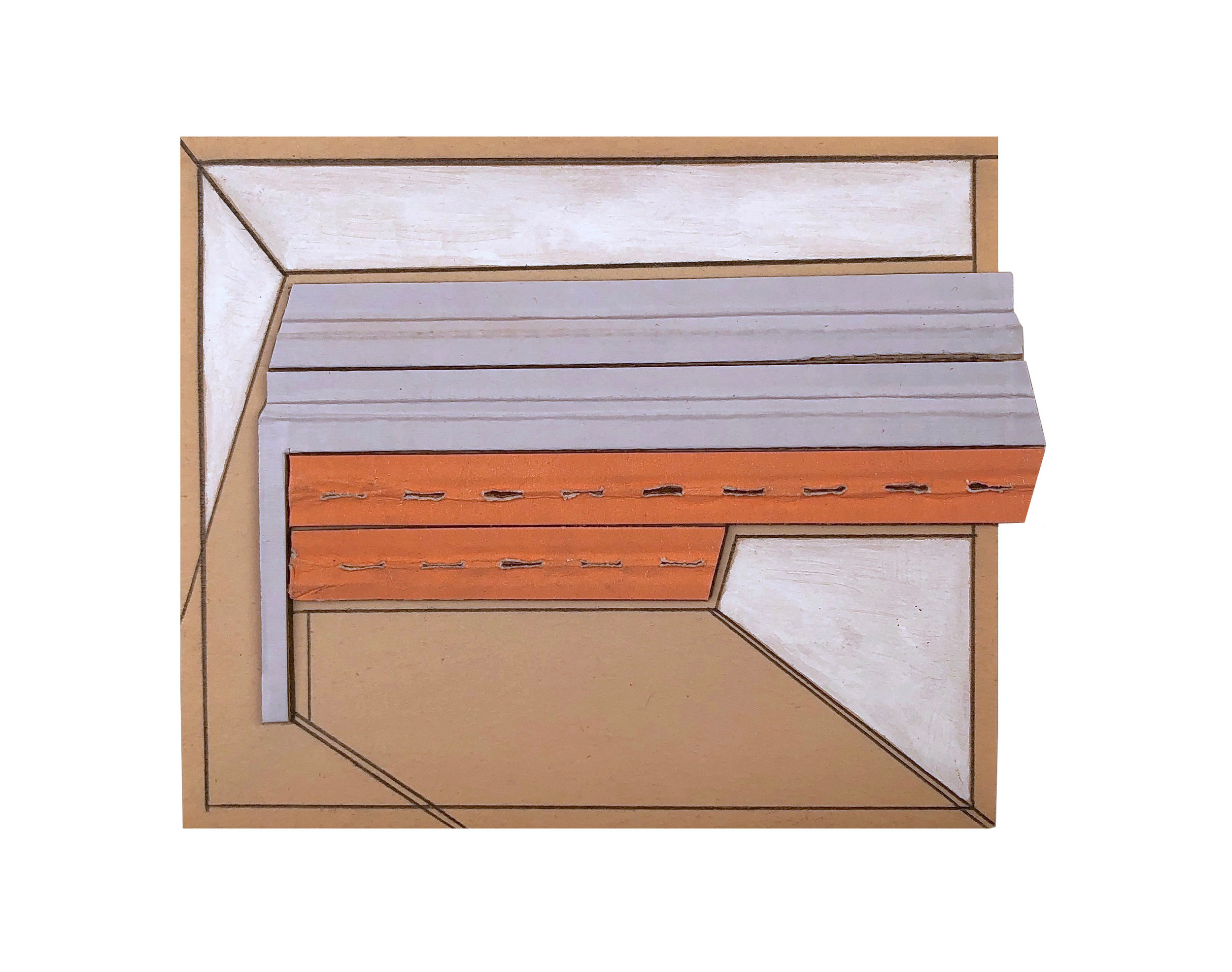 2019  cardboard, acrylic, pencil on paper  4 1/2 x 5 1/2 inches