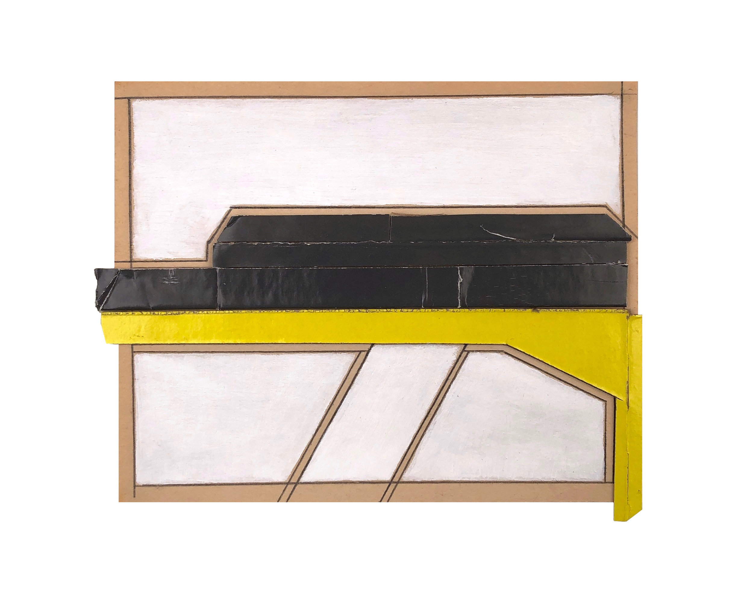 2019  cardboard, acrylic, pencil on paper  4 5/8 x 5 3/4 inches