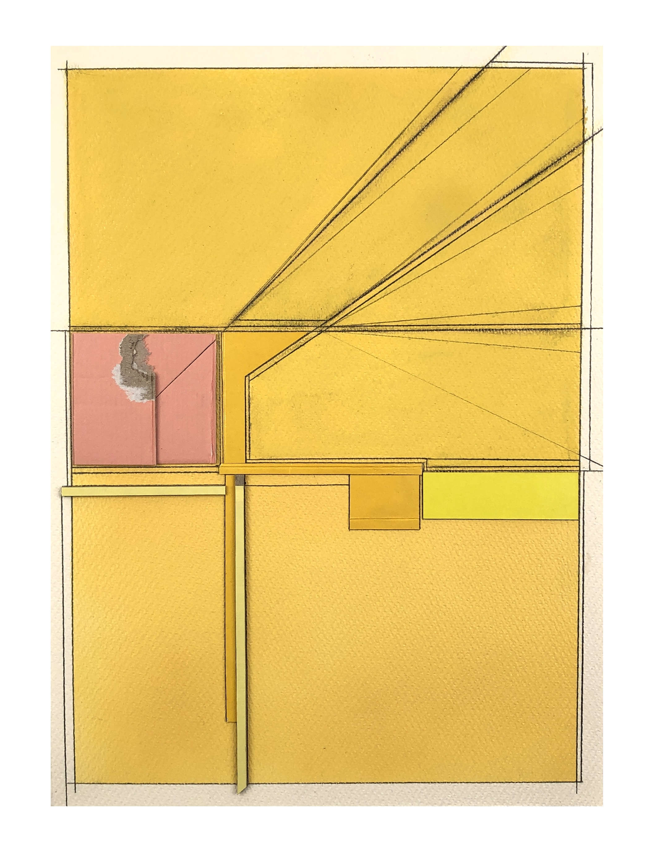 Yellow Letter 2 , 2019  Spray paint, acrylic, oil pastel, cardboard, pencil on paper  15 x 11 inches