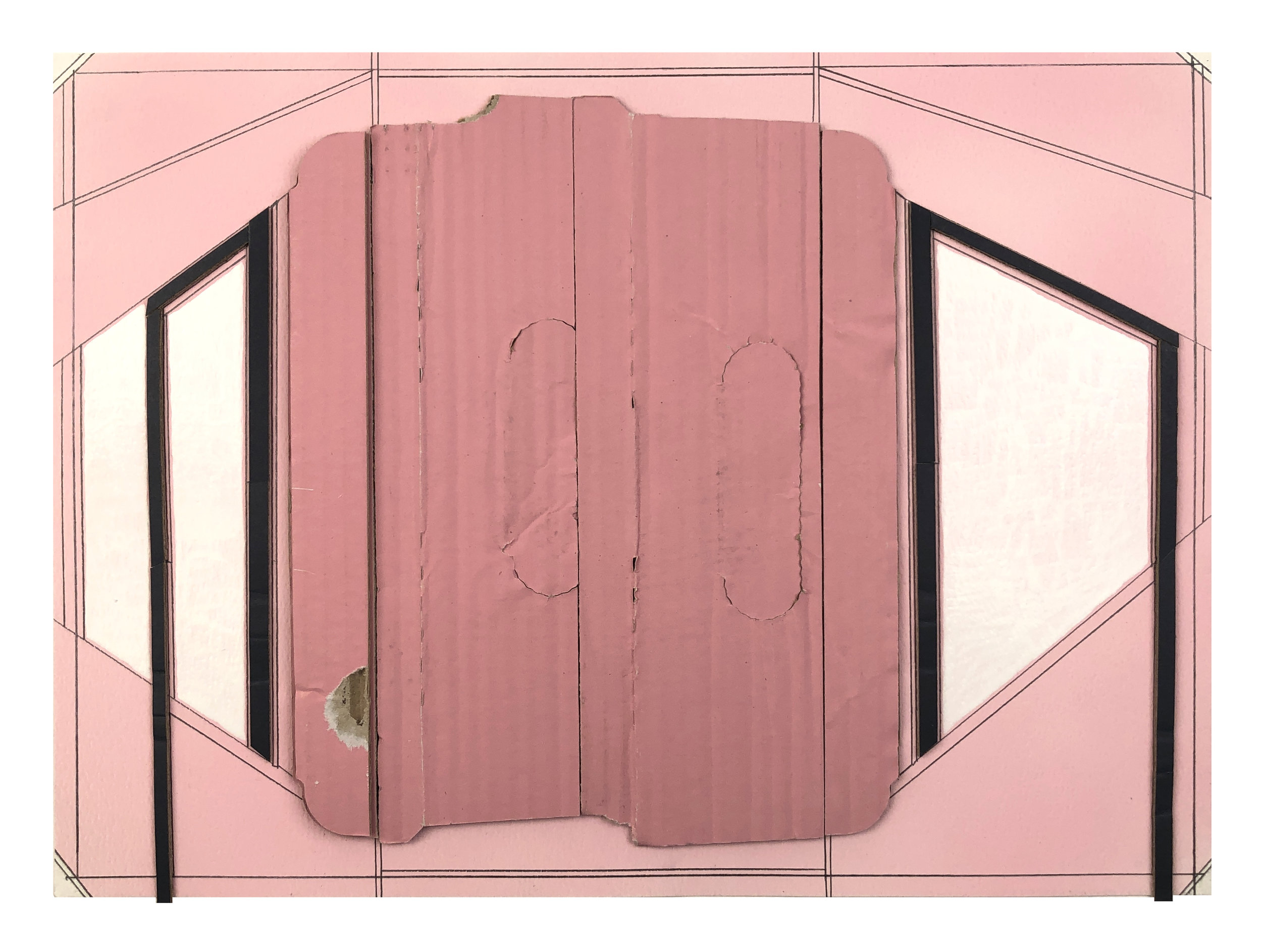 Pink Ground 6,  2019  Spray paint, collage, white stain, pencil on paper  11 x 15 inches