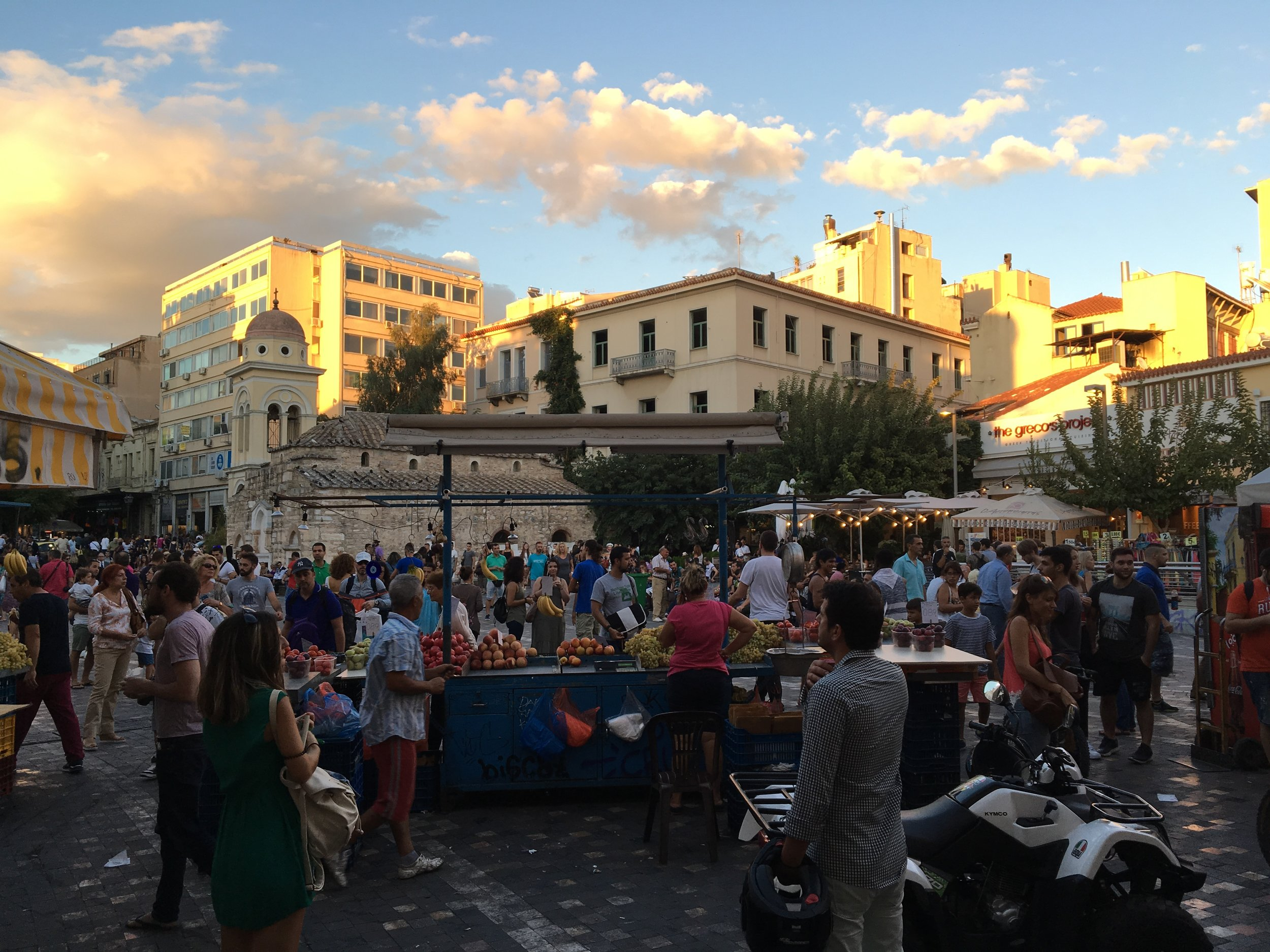 A scene from the old plateia (square) of Monastiraki in Athens.