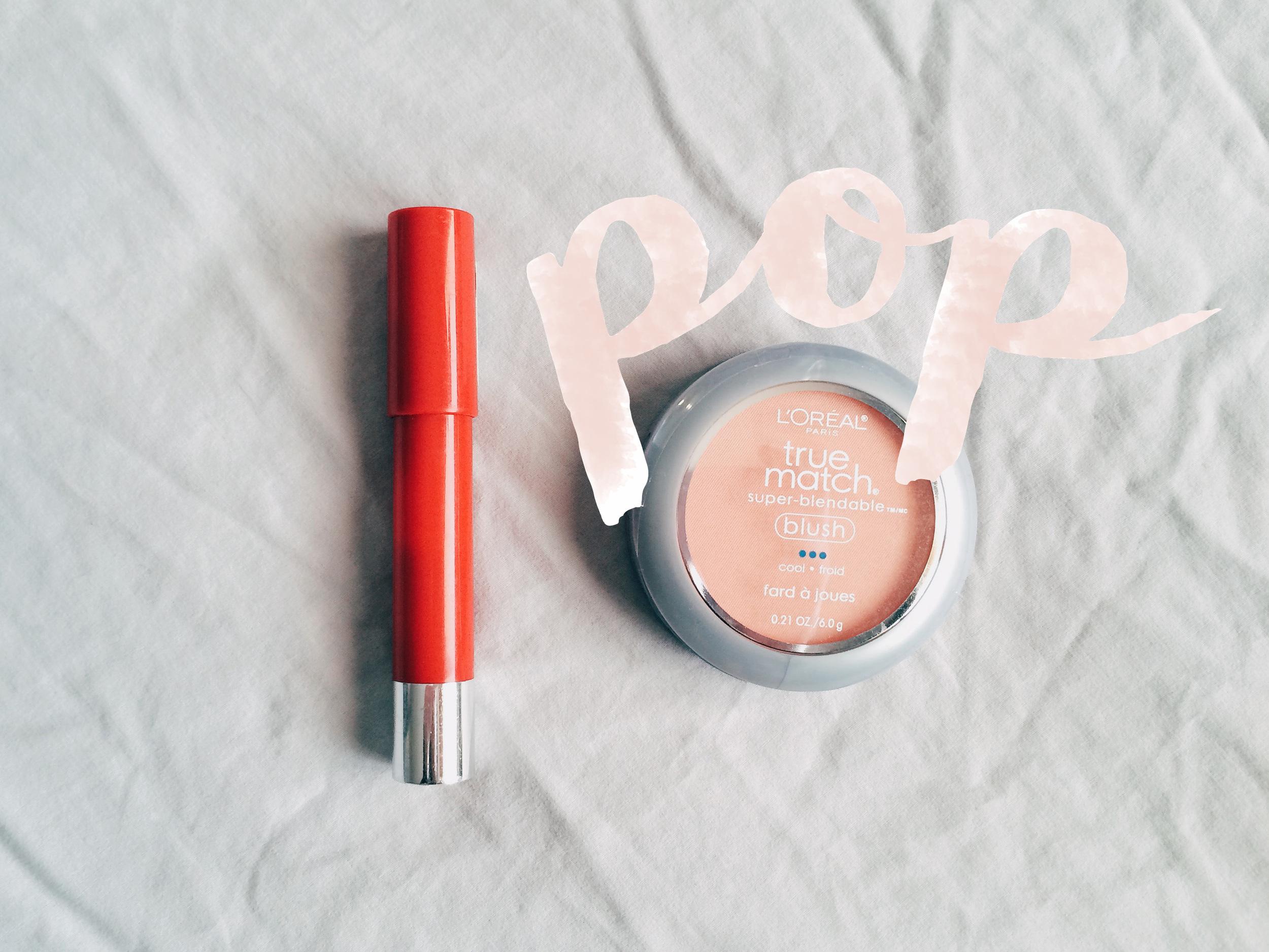 Revlon's Lipstain /  Loreal True Match Blush
