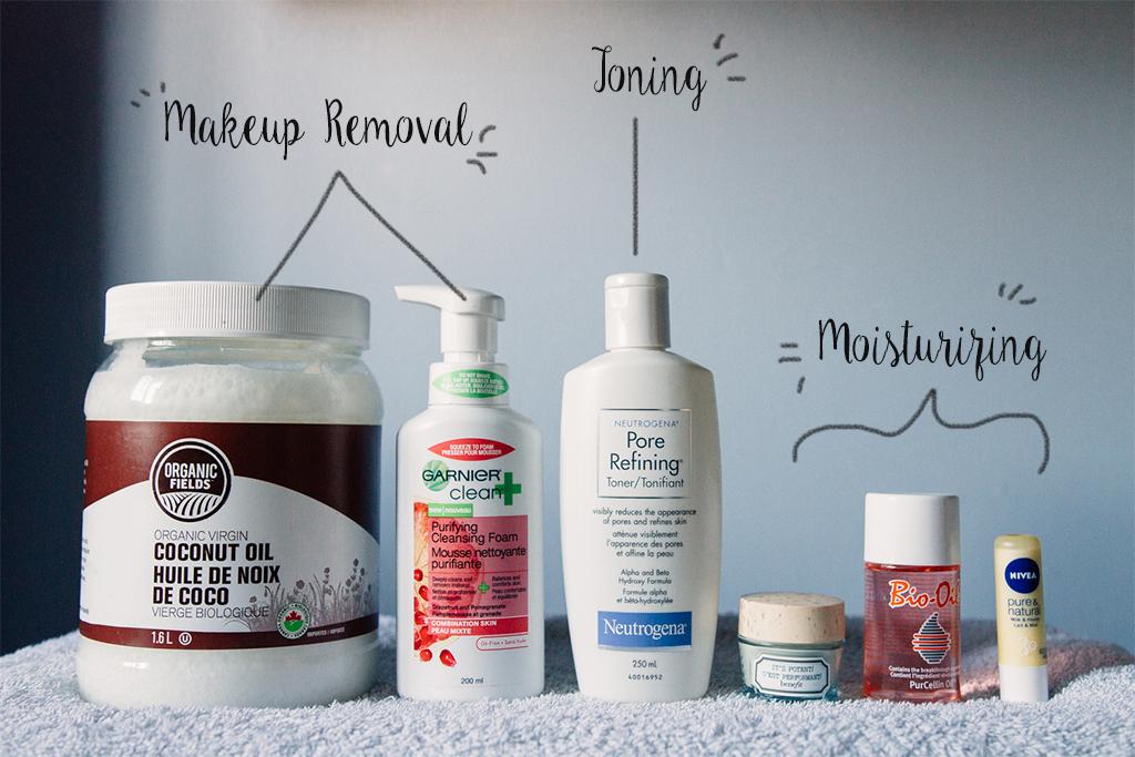 This is my skincare routine in proper order: Coconut oil, Garnier Cleansing Foam, Neutrogena Toner, Benefit Eye Cream, Bio-Oil, Nivea Lip Balm