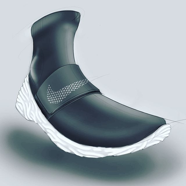 #tbt 2015 - Nike sock runner concept ... A cozy sock runner with a neoprene Velcro strap. Perforations in neoprene reveal white mid-layer for a subtle swoosh. Outsole inspired by patterns in nature, coral + the nervous system.