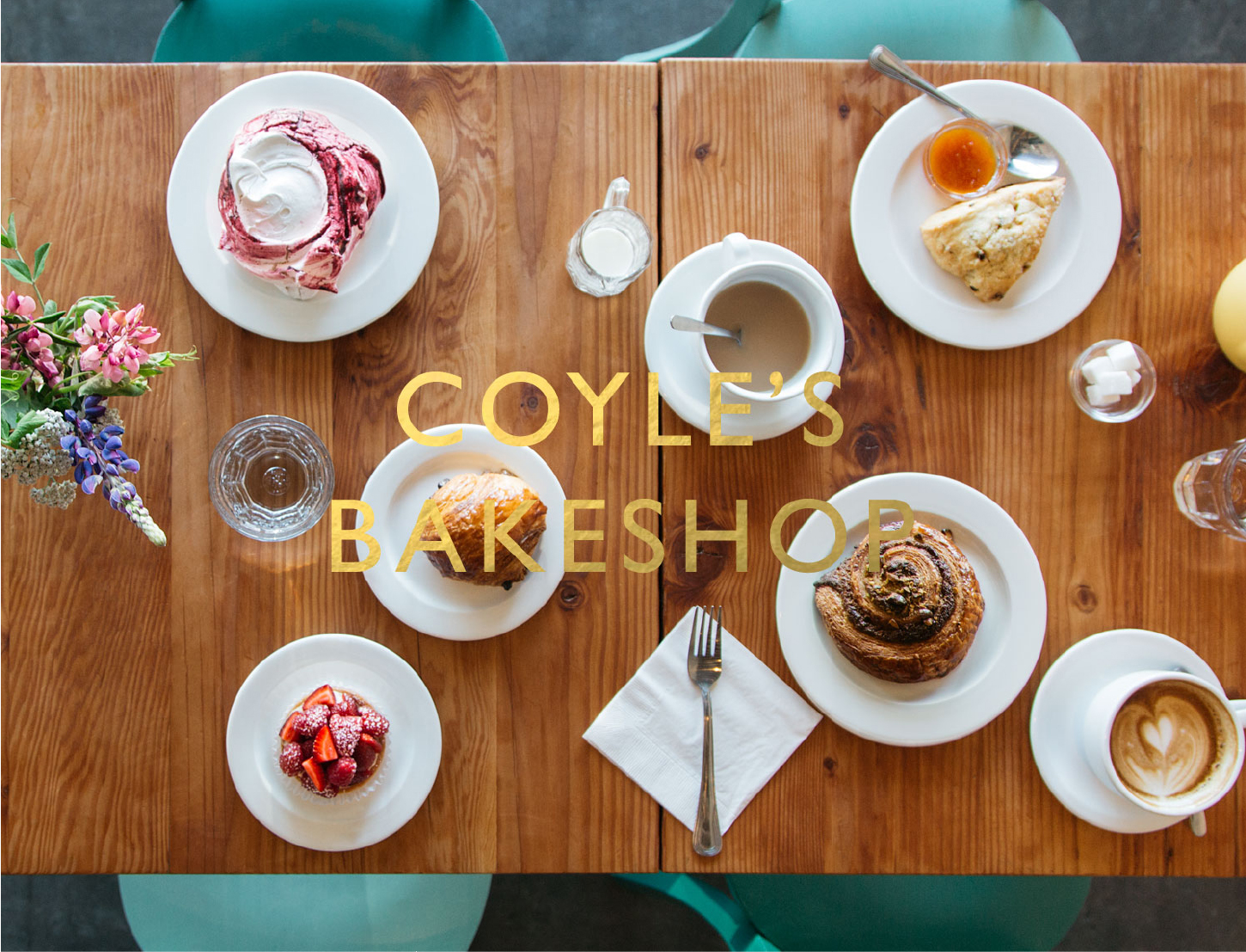 coyles bakeshop website homepage pastry photo with logo