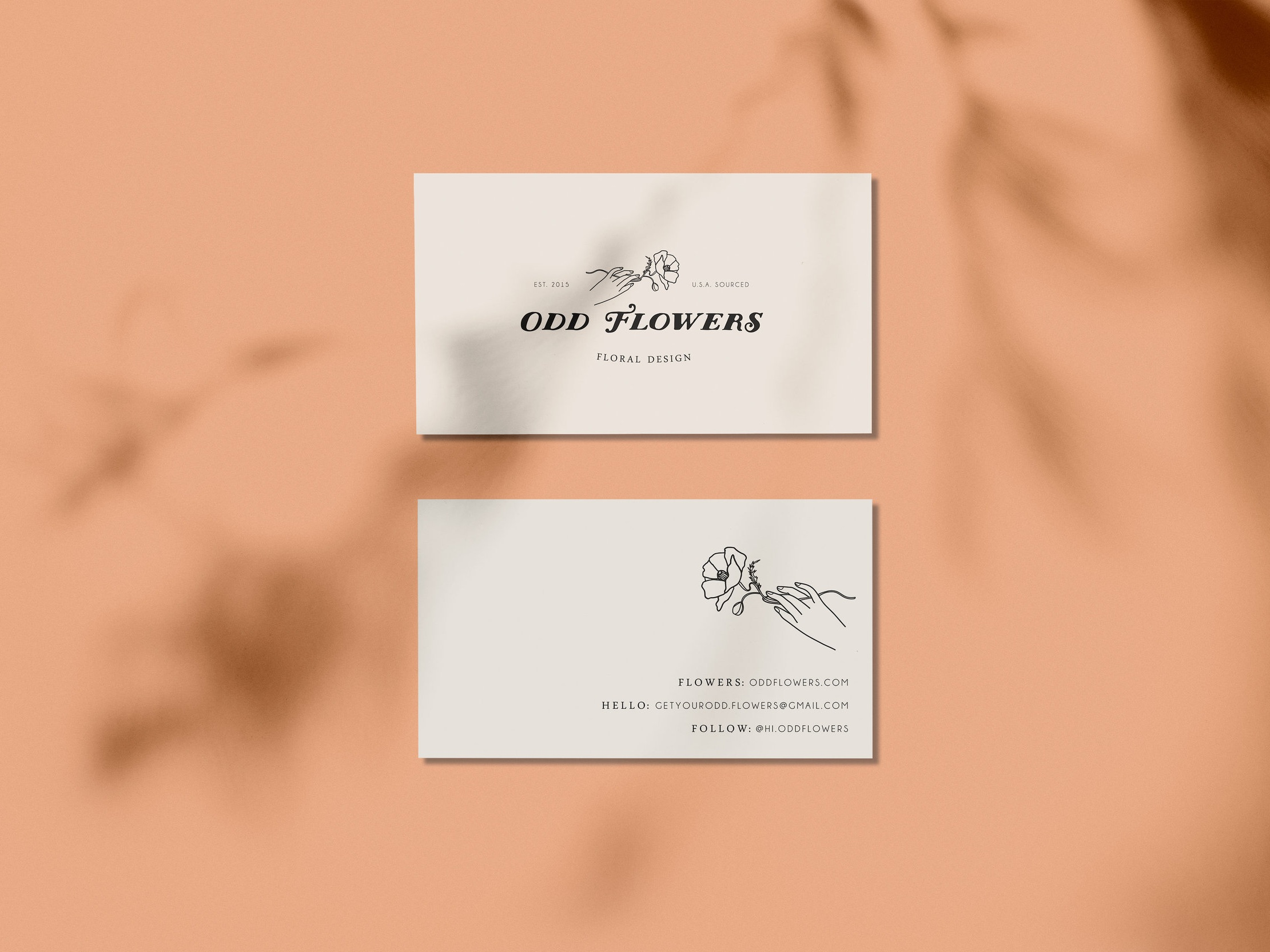 odd flowers floral design business card