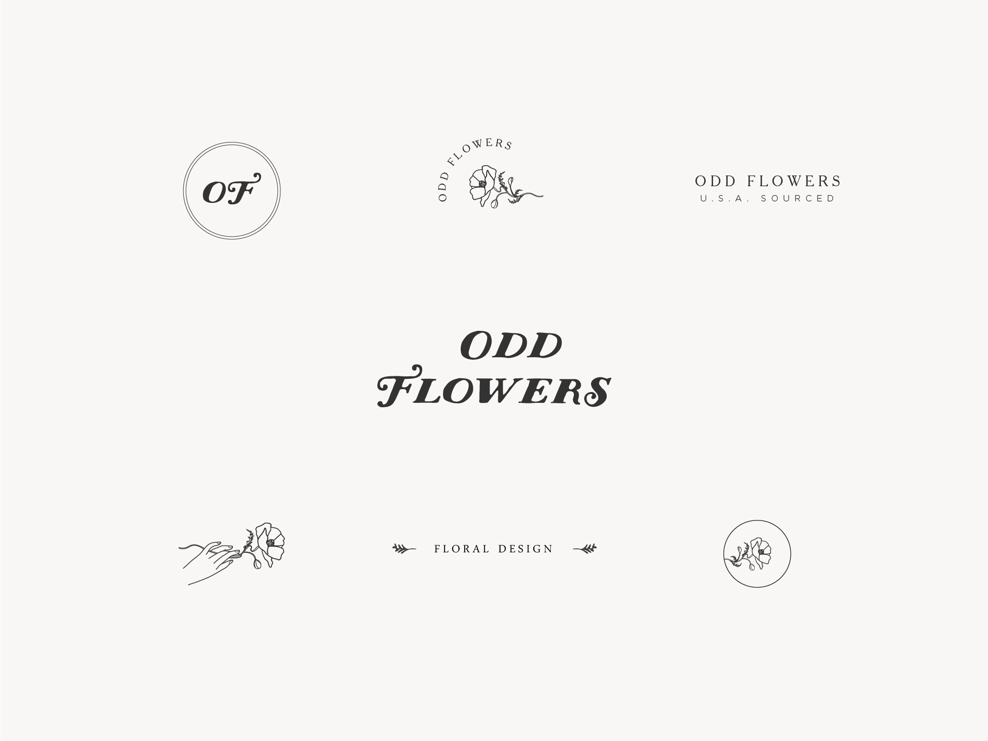 odd flowers logo design brand suite