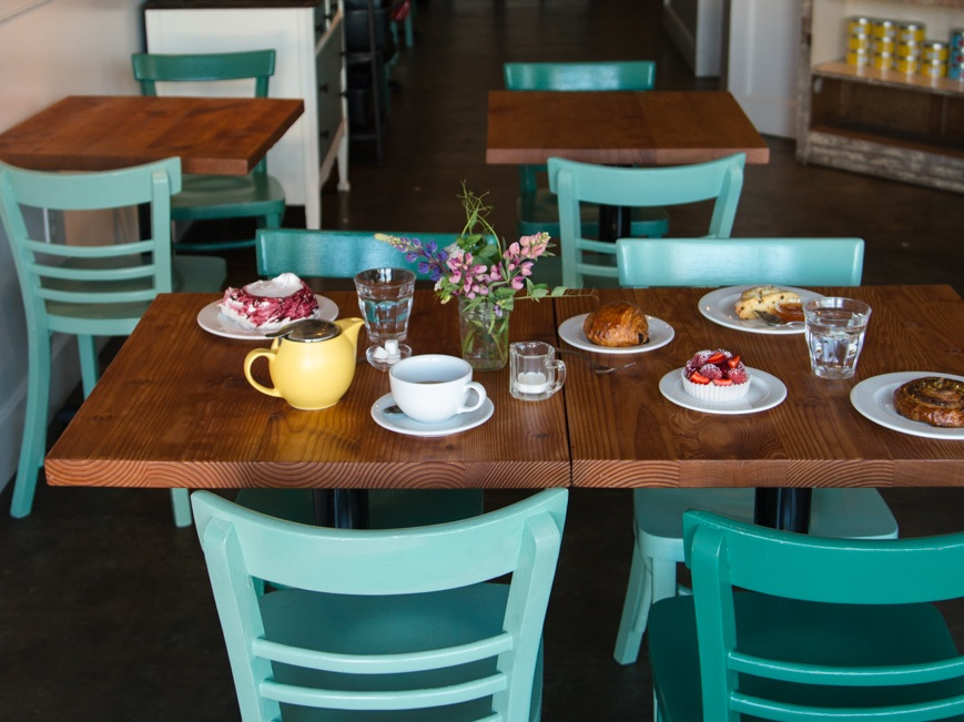 coyles bakeshop table with pastries in cafe