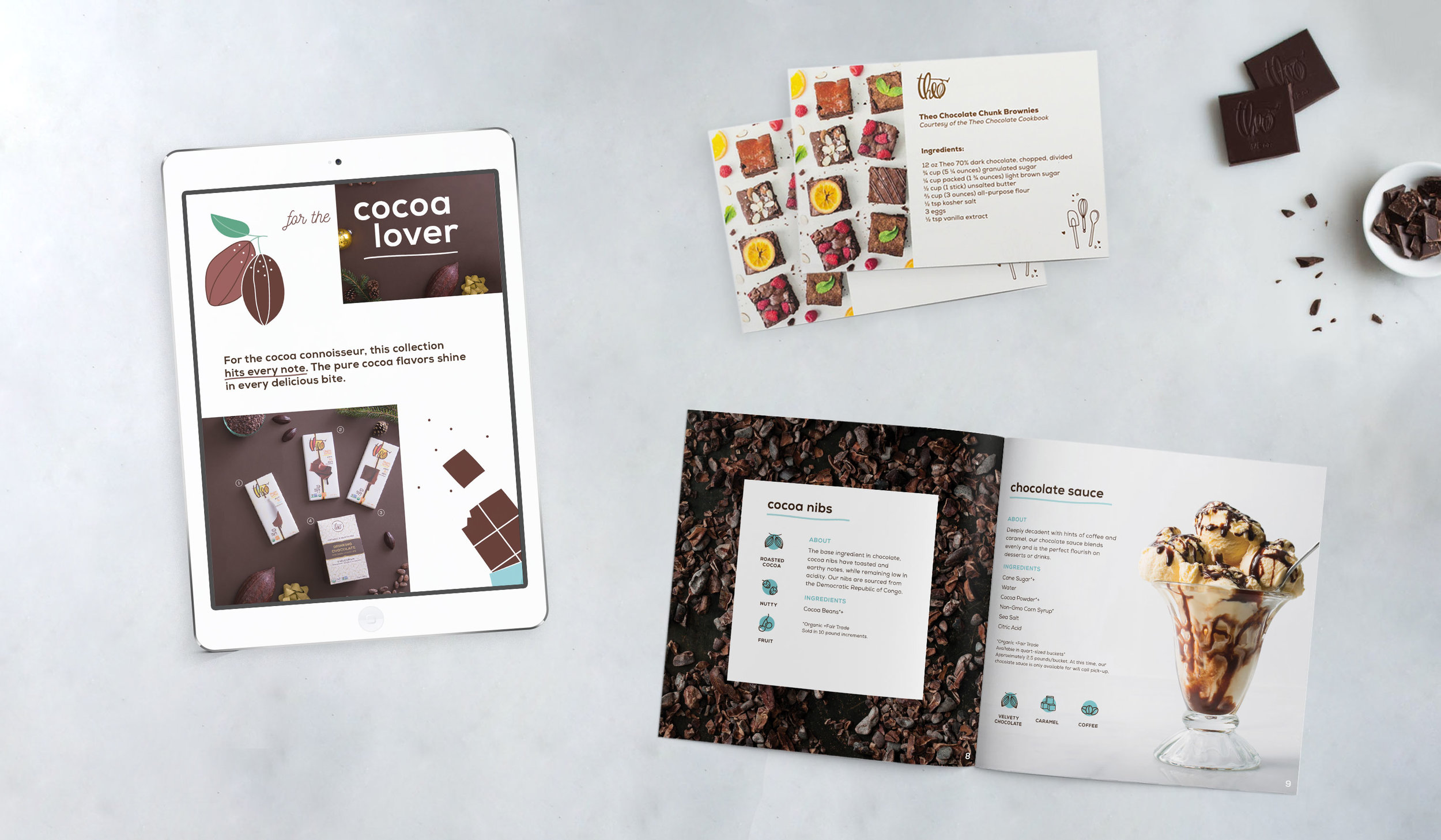 theo chocolate catalog and print and digital designs mock up on marble