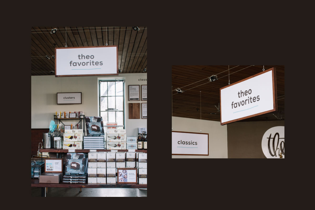 retail store signage design for theo chocolate