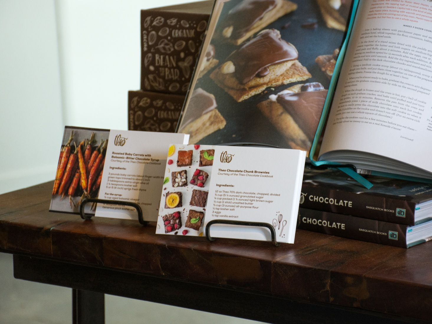 recipe cards designed for theo chocolate in retail store