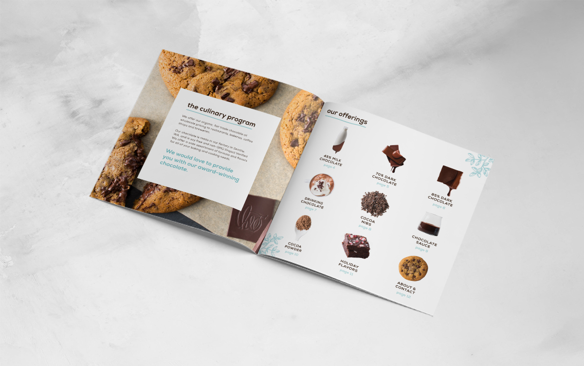 culinary catalog design for theo chocolate