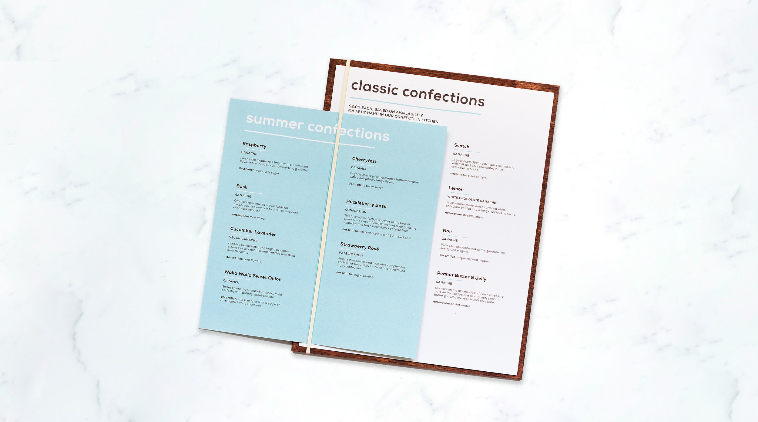 confection menu design for theo chocolate
