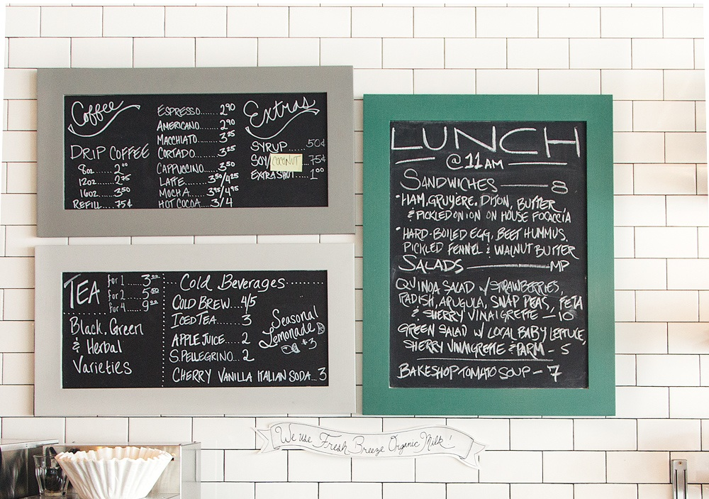 coyles bakeshop coffee and lunch menu chalkboards on wall
