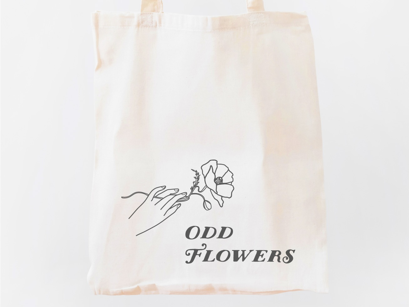 odd flowers tote bag with logo design