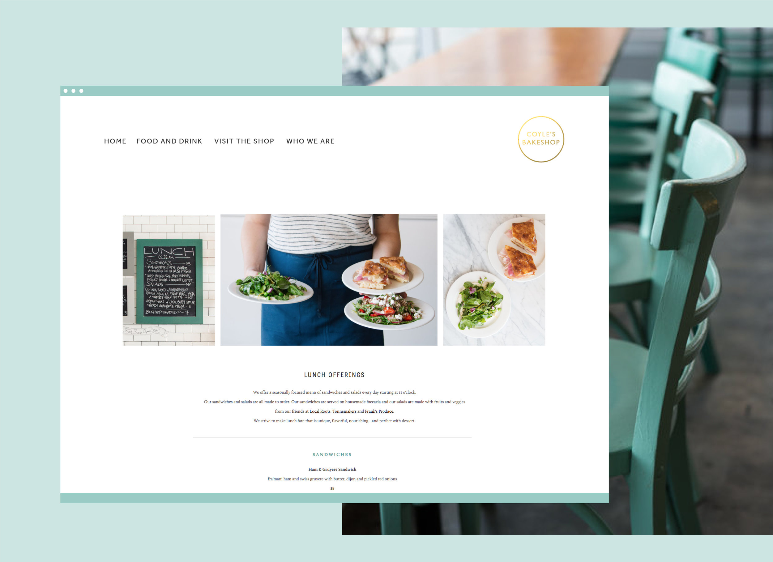 coyles bakeshop website design mockup