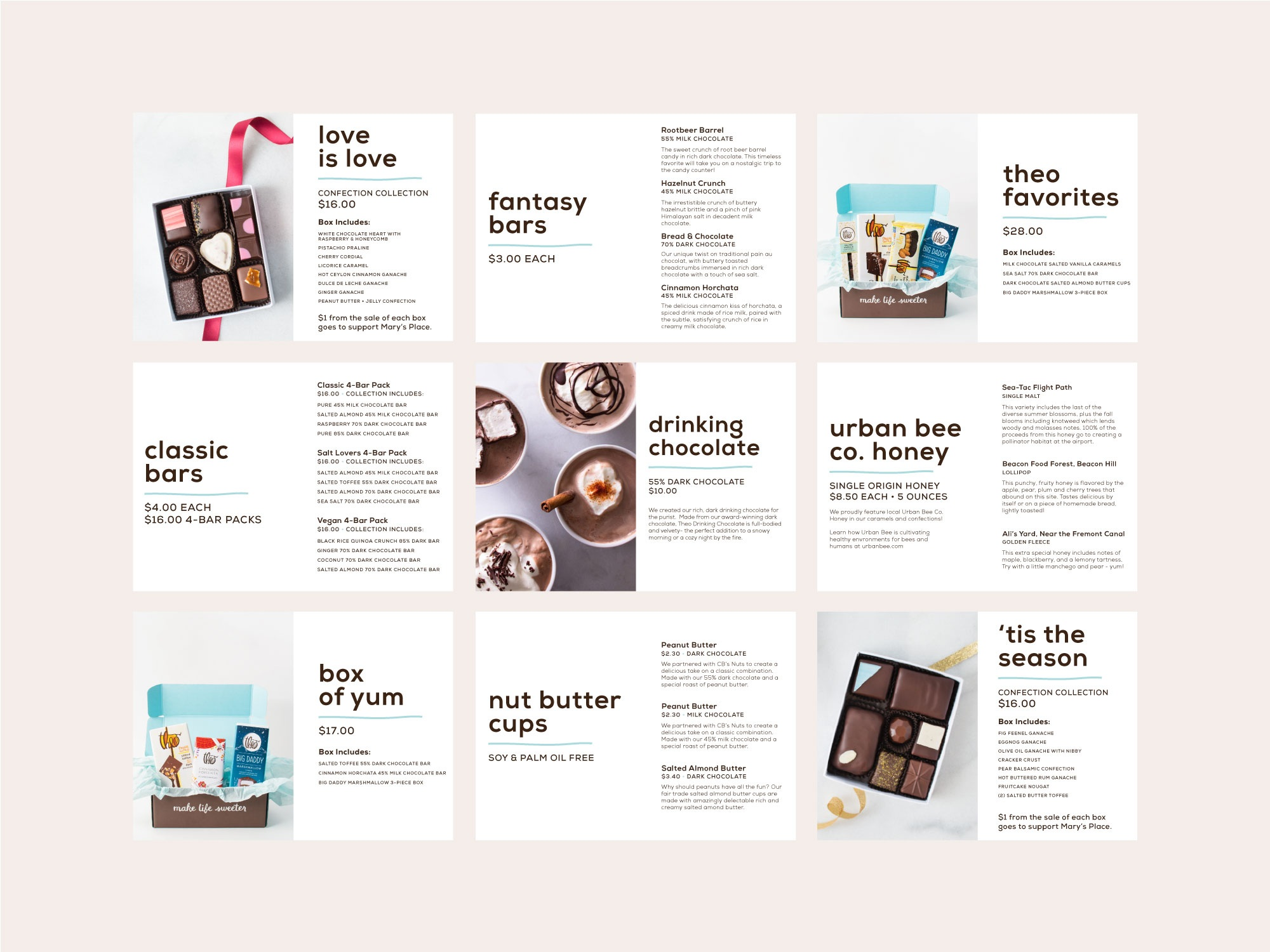 retail store signage design mockups for theo chocolate