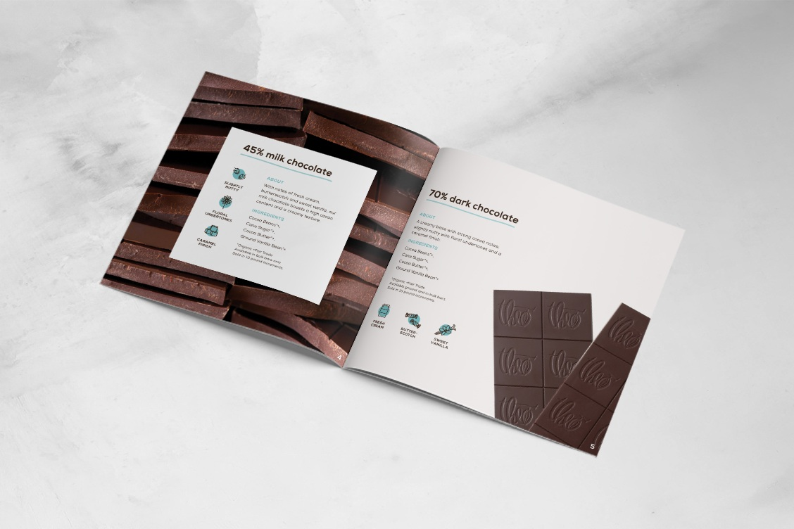 culinary catalog design for theo chocolate