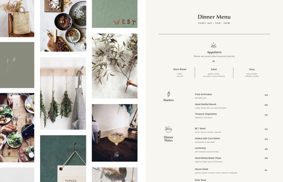 Tilikum Place Cafe Mood Board Menu Design Web Design