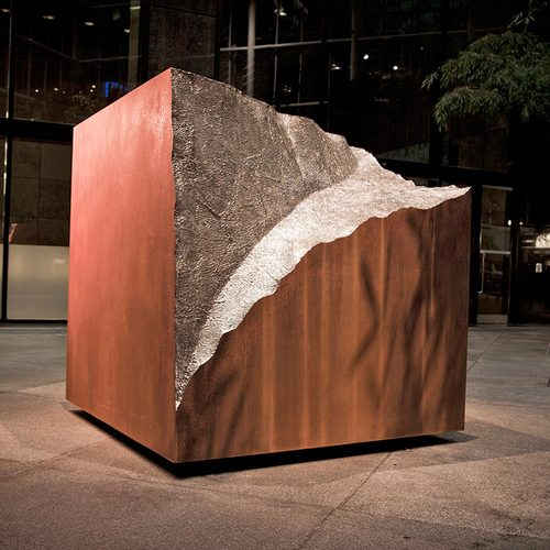 Vestigial Block / CorTen and Stainless Steel / 6.25 x 6 x 6 feet | 1.9 x 1.8 x 1.8 meter