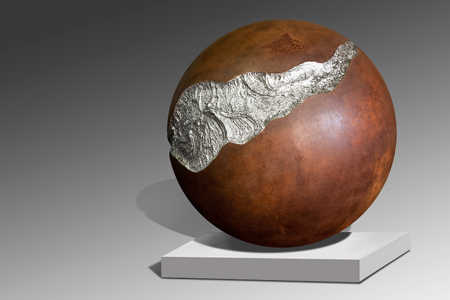 Rift / Oxidized and Stainless Steel / 41 x 41 x 41 inches | 104 x 104 x 104 cm