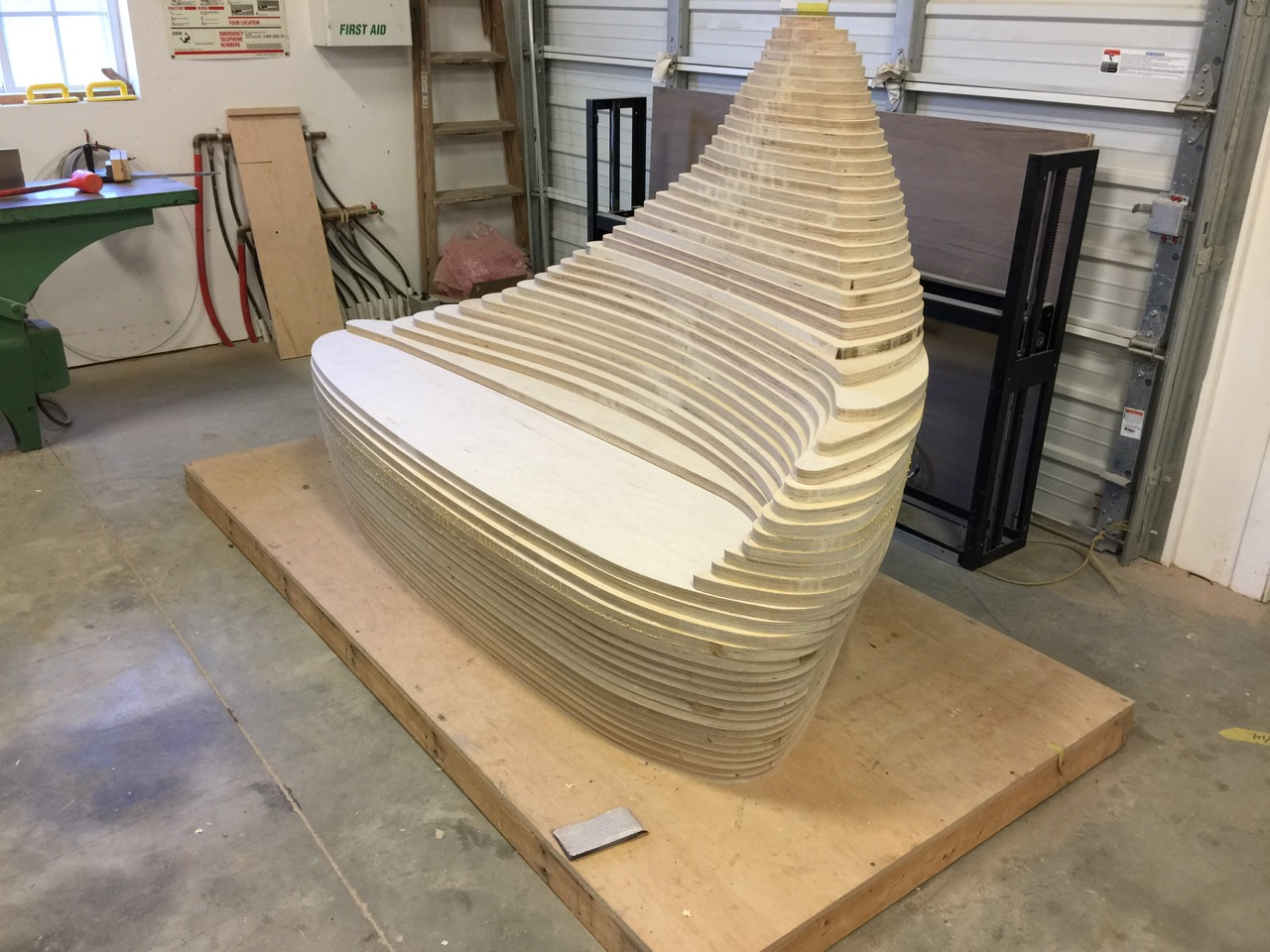 stacked plywood to be sculpted