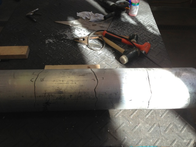 Sections for plasma cutting laid out in aluminum