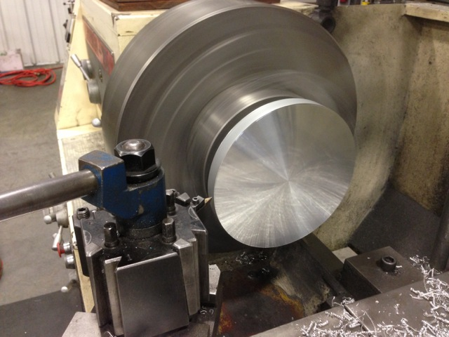 End cap in the process of being machined
